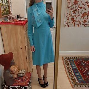 Vintage 60s Embellished Rhinestone Party Dress S/M